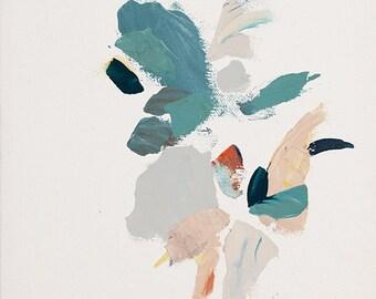 Modern Abstract Botanical Print turquoise