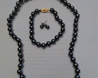 Vintage Black costume pearls, 3 piece set,necklace bracket earrings ,