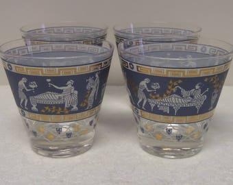 ETRUSCAN FRIEZE LOWBALLS • Lowball Glasses • Cera Glass • The Whiskered Kitten • Vintage Barware • Greek Key • Roman Greco • Drink Glasses