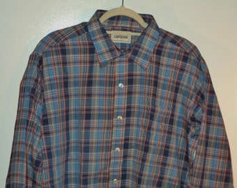 NEW 70s Campus Studio One thin plaid button down// dead stock NWT usa made western hipster long sleeve oxford// Men's size XL