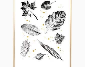 "Leaf Print, Geometric Art, Nature Art, Wall Art Print, Minimalist Print, Leaves Print, Gold Print, Mothers Day Gift, Art Prints, 9"" x 12"""