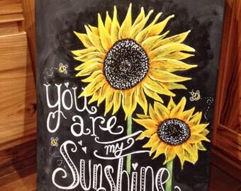 You are my sunshine sign kids room decor, sunflower painting, sunflower wall art, sunflower sign, girls room, boys room, nursery room