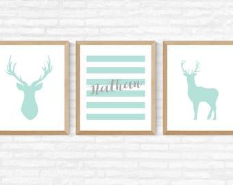 Turquoise deer print, custom name, nursery wall art, children room wall art, baby boy, baby boy wall art, baby boy poster, printable