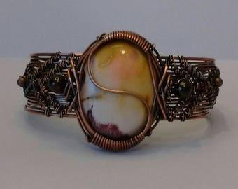 Mookaite, copper bracelet, mookite, gift, garnet  bracelet, Mookaite bracelet, nature jewelry, cuff bracelet, cruelty free jewelry shop
