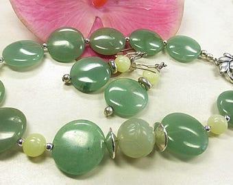 Green Aventurine set with jade