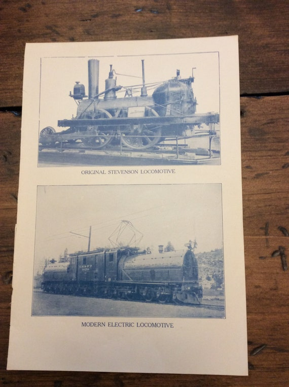 Antique Print - Trains, Locomotive, Steam Engine, Book Plate, Lithograph