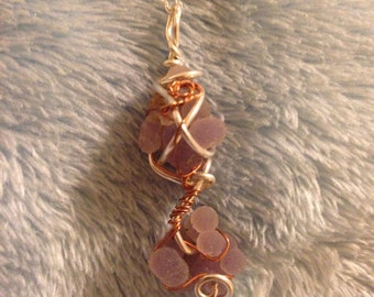 Sterling Silver/copper Double little Grape Agate necklace
