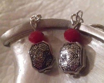 Aged silver plated earrings and a red bordeaux faceted beads