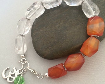 Om Bracelet, Handmade Beaded Bracelet, Quartz, Agate, Sterling Silver Lobster Claw Clasp, Swarovski Crystal, Orange Bracelet