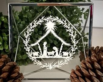 For Anjenette Framed Papercut Nativity / Christmas Nativity / Nativity / Nativity Art / Christmas Art