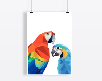 50% DISCOUNT, Macaw parrot, Scarlet macaw, Parrot art, Geometric macaw, Parrot poster, A2 animal art, Colourfull art, Parrot pair, Rainbow
