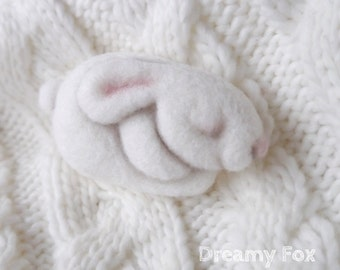 Needle felted bunny brooch
