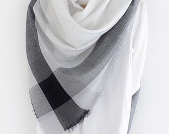 Sale Oversized Cotton Square Scarf - monochrome scarf, cotton blanket scarf, summer scarf, cotton shawl, square scarf, black and white scarf