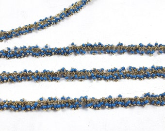 Summer Sale Blue beads Wire Wrapped Beaded Chain , Blue Beads  24K Gold  Plated Wire Wrapped Dangle Rosary Chain by foot