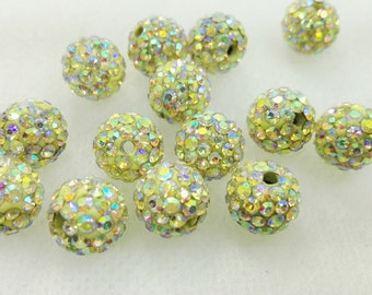 10mm Shamballa AB Beads ,10 mm Beads , Disco Balls Beads ,Shamballa Jewelry , Crystal Beads ,Crafts,Beads,Supplies, Findings (NMH