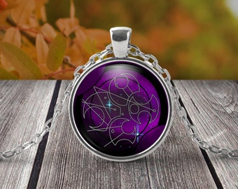 Whovian inspired necklace - The girl who waited - Purple galaxy