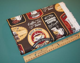2 Yards Novelty Cotton Fabric Morning Coffee NEW