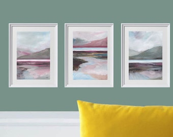 The lakes. Oil painting on paper. Pink painting , grey painting  mountains painting
