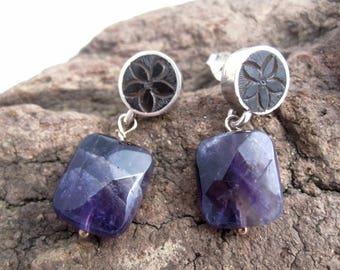 Earrings Amethyst, Jet & silver. Earrings Amethyst. Amethyst. handmade. fossil wood. jewel author