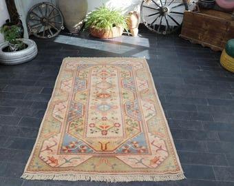 Pale Color Vintage Floor Rug Decorative Rug 3.9 x 6.5 Free Shipping Ousak Rug Boho Decor Rug Turkish Rug Vintage Rug No 36