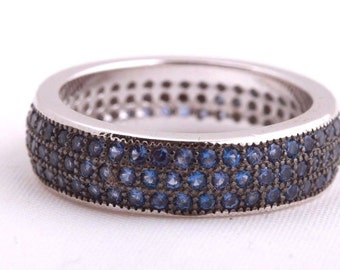 Magnetic! Turkish Handmade Jewelry Sapphire 3 Banded 925 Sterling Silver Ring Size 7.5