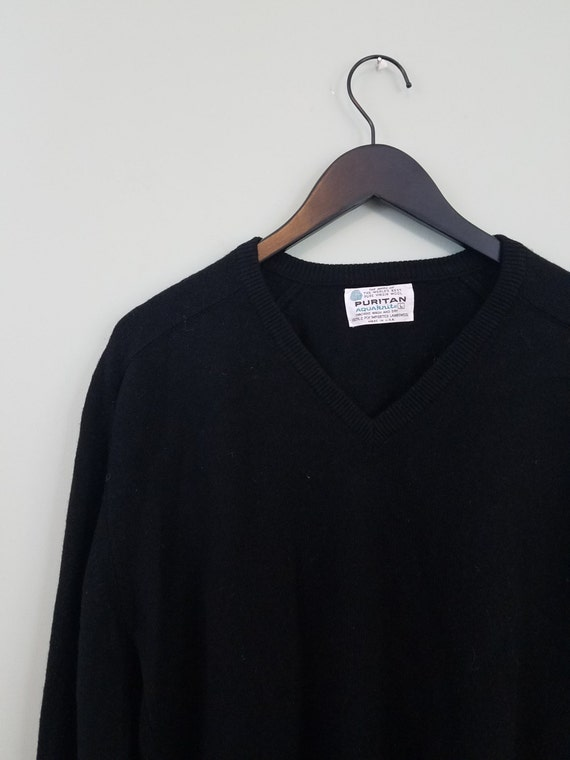1970s Minimalist Men's Sweater / Inky Black Wool Pullover / Puritan Aquaknits / Modern Size Large