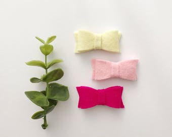 Barrettes picks up toupee for baby / child - loops in wool of Merino - yellow, sweet, pink rose or the complete trio