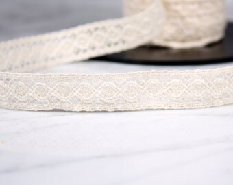5 m tape 17mm, cotton, white broken, (4715)
