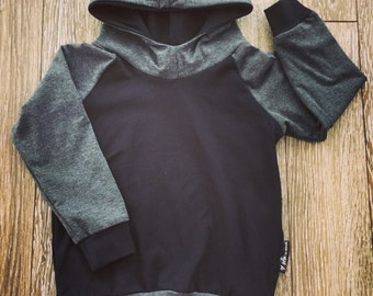 For baby and child, bamboo black and charcoal gray Hoodie