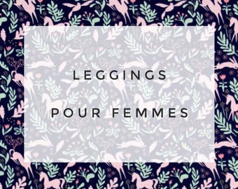 Leggings for women, ultra comfortable * unicorns and rabbits on Navy background