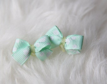 Set of 2 Mint Green with White Flowers Dog Hair Bow
