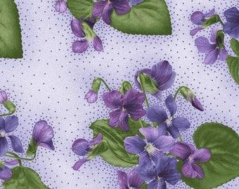 Arabella - Per Yd - Maywood Studio - by Debbie Beaves - Violets on Lt Purple