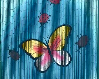 Butterflies Bamboo Beaded Curtain