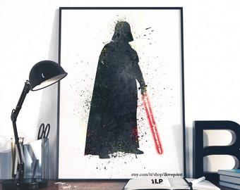Darth Vader Star Wars Art Print, Star Wars Poster, Star Wars Print, Watercolor Star Wars, Wall Art, Art Decor Star Wars, BUY 2 and 1 FREE