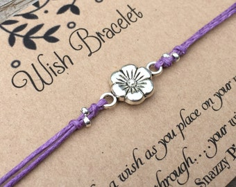 Flower Wish Bracelet, Make a wish Bracelet, Daisy Flower Bracelet, Wish Bracelet, Friendship Bracelet, Flower Bracelet , Gift for Her