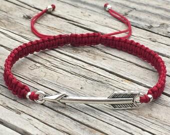 Arrow Bracelet, Arrow Anklet, Adjustable Macrame Friendship Bracelet, Gift for Her, Small Gift, BFF Gift, Arrow Jewellery, Friendship Gift