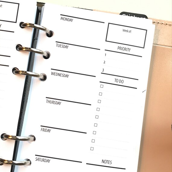 2WO2P - Two Weeks On Two Pages With/Lists Printed Planner Inserts | Personal Size