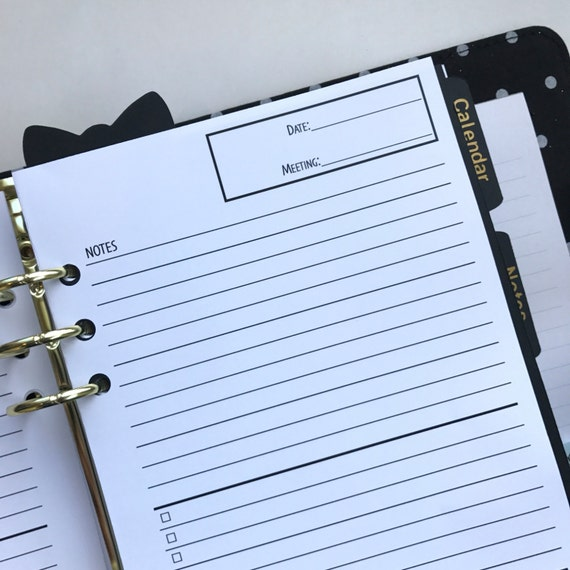 Meeting Notes Planner Inserts -Half Letter Size