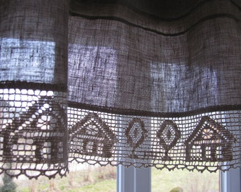 Grey Cafe Curtains Pair Kitchen Curtains Lace Curtains