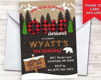 Lumberjack First Birthday Invitation Invite Onederland Winter Plaid Boys 5x7 One Digital Personalized