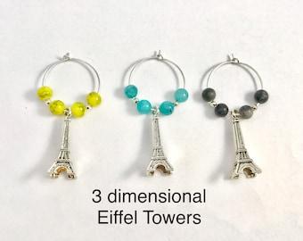 3 Eiffel Tower Wine Charms/ Martini glass charms