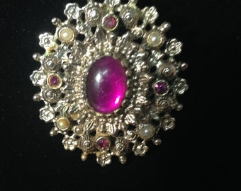 1960s  Pearl and Amethyst Pin with Purple Stones by Sarahoo. Can be worn as a brooch or a pendant over pearls.