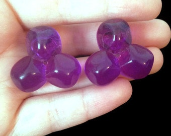 Purple Earrings - Plastic Earrings - 80s Earrings - 1980s - Fun Earrings - 90s -Clip On Earrings - Big Chunky Jewelry - Girl's Earrings