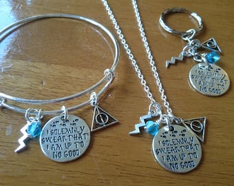 I solemnly swear that I am up to no good quote silver expandable bracelet/necklace/key ring options