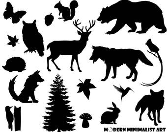 Woodland Animals Clipart Black – 17 PNG Images