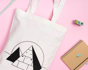 HAPPY PYRAMID / Aliens Pyramids Ufo, Screen Printed Tote, Silkscreen, Tote Bag, Market Tote, A4 Shopper Bag, Original Illustration by LULO