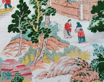 50s Barkcloth Vintage 1950's Fabric Panel Drape Oriental Fu Manchu Gardens Vintage Textile Puritan Print Design