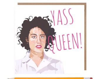 Funny Broad City Cards • Yass Queen Card • Broad City Card • Ilana Glazer Card • Galentines Card • Birthday Card • Feminism Card •