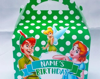 Peter Pan, Wendy and Tinkerbell Personalised Childrens Party Box Gift Bag Favour
