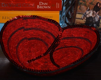 Fabric Rope Coiled Basket: Cross My Heart Red, Black with Red Sequins - key/coin tray